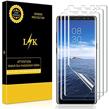3 Pack  LK Screen Protector for Samsung Galaxy Note 8, Liquid Skin  New  Version   Full Coverage   Case Friendly  HD Clear Flexible Film with  Lifetime ... 32f1f10fb0d3