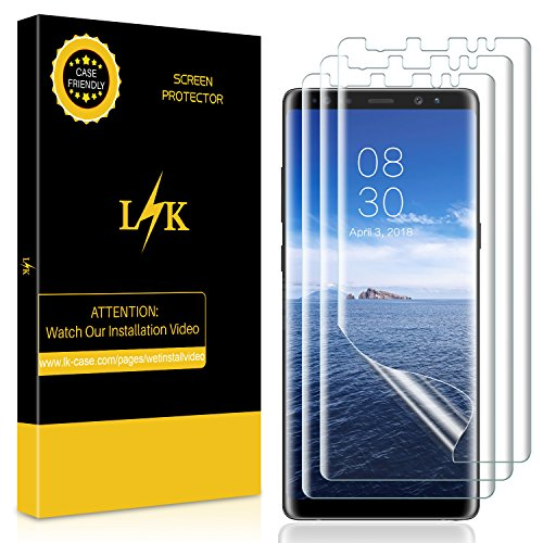 Phone Lcd Screen Protector - [3 Pack] Samsung Galaxy Note 8 Screen Protector, LK Liquid Skin [New Version] [Full Coverage] [Case Friendly] HD Clear Flexible film with Lifetime Replacement Warranty