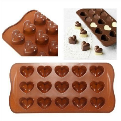 Foxnovo Sweet Heart Shaped 15-Cup Silicone DIY Mold for Cake / Chocolate / Pudding - Coffee