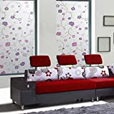 E-TOP Premium No-Glue Color Glass Films Static Decorative Privacy Window Films (No Adhesive),1.5Ft X 6.5Ft.(45 x 200 Cm)(Pattern 4) by E-TOP