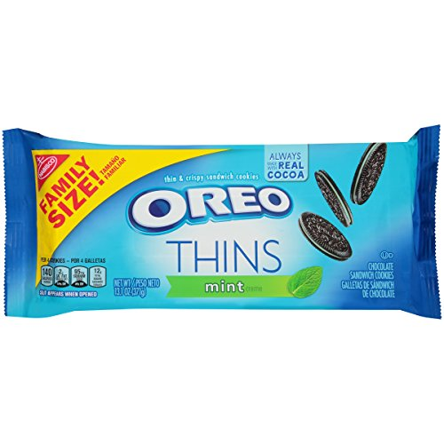 Oreo Thins Mint Creme Chocolate Sandwich Cookies, Family Size, 13.1 Ounce ()