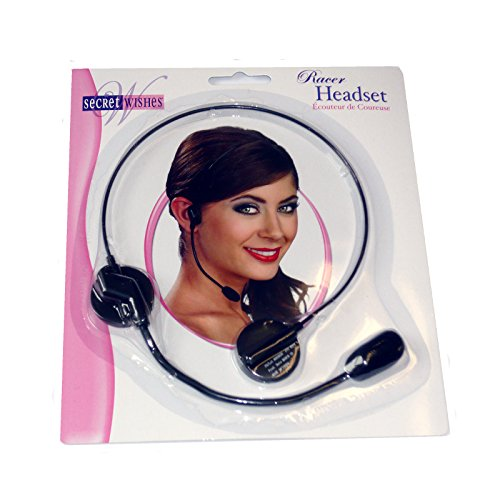 9455 One Racer Headset Microphone Pop Star Rapper (1 Headset) Black -