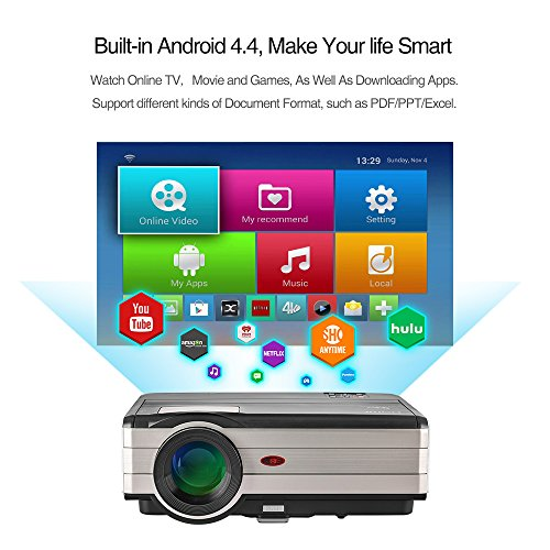 EUG Wireless LED Wifi TV Projector, LED LCD HDMI Android Video Projector...