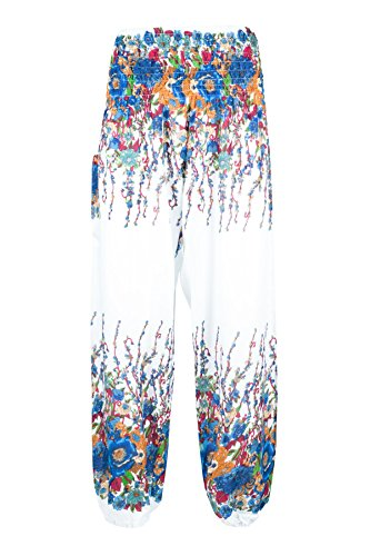 2 Boho Pantalon Bleu Sarouel Lofbaz Smockée Blanc amp; Femmes Taille Harem Floral Pants qYd7dzx
