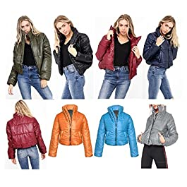 Women's  Cropped Jackets Coat Ladies Padded Bomber