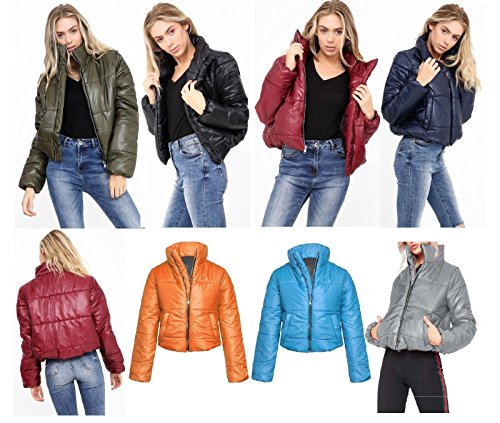 Womens Wet Look Cropped Jackets Coat Ladies Padded Bomber Bubble Puffer Short UK[Aqua-L]