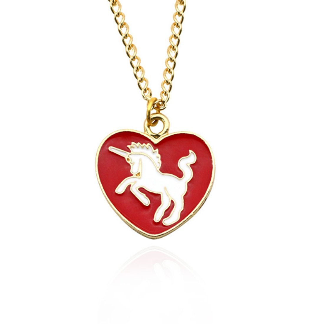 VWH Women Girls Alloy Necklace Unicorn Pendant Clavicle Bone Chain Necklace Jewelry Gift