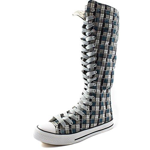 DailyZapatos Mujeres Canvas Mid Calf Tall Botas Zapatillas Casual Punk Flat, Blue Wht Plaid Botas, Clean Gray Lace, 12 B (m) Us