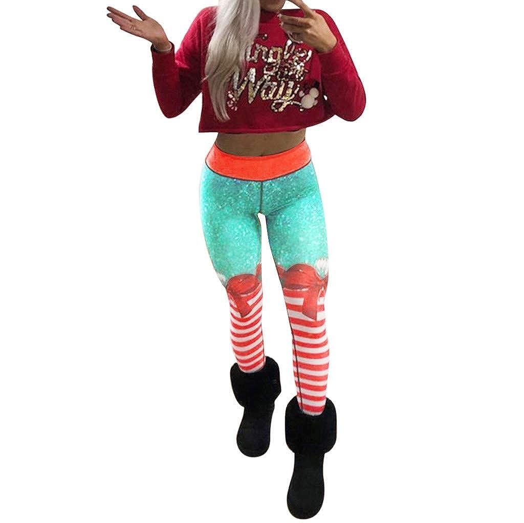 iLUGU Womens Christmas Sports Gym Yoga Black Leggings Yoga Pants Running Fitness Athletic Work Out Trouser