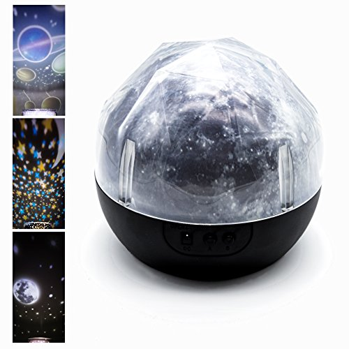 Night Light, Star Projector Lamp with 3 Colors and 6 Lighting Modes Contains 5 Sets of Film, Gift for Kids, Teens Children, Men and Women.(Moon) by Chikka