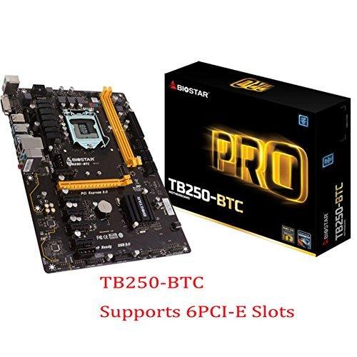 BIOSTAR TB250-BTC Motherboards 6 PCIE B250 LGA 1151 DDR4 ATX Mining Motherboard (alternative H81 BTC PRO TB85 H81) (6-PCIE)