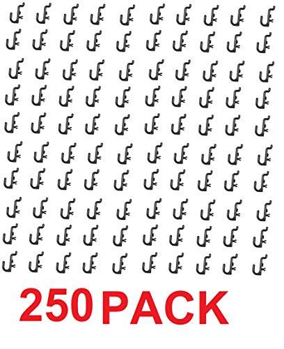 Peg Board Hook Kit Garage Tool Storage Craft Hooks Pegboard J Hook Style-BLACK- Plastic (250) by JSP Manufacturing