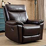 CANMOV Leather Recliner Chair for Living Room, Padded Durable Ergonomic Single Seat, Manual Reclining Chair, Brown