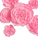 Paper Flowers Decoration, Handcrafted Flowers, Giant Paper Flower (Pink, Set of 6), Large Paper Flowers for Wedding Backdrop, Baby Shower Decorations, Archway Decoration, Nursery Wall Decorations