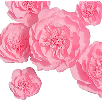 Amazon paper flower decorations handcrafted flowers pink paper flowers decoration handcrafted flowers giant paper flower pink set of 6 large paper flowers for wedding backdrop baby shower decorations mightylinksfo