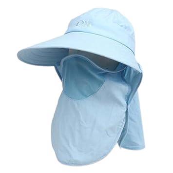ad2c8a129ea Amazon.com  PANDA SUPERSTORE Detachable Womens Wide Brim Summer Sun Flap Cap  Hat Neck Cover Face Mask UPF 50+  Sports   Outdoors