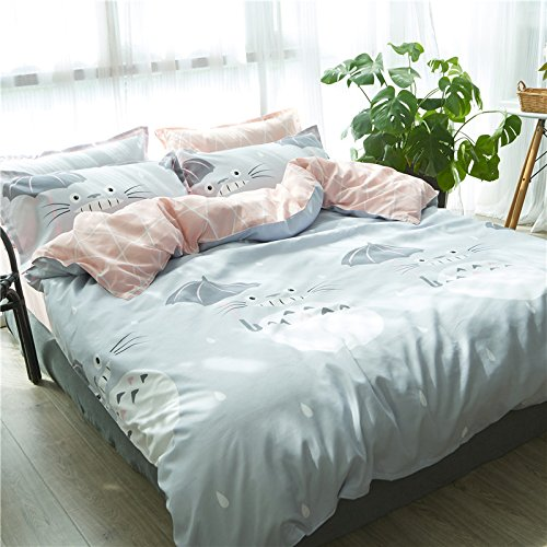 KFZ 4pcs Bedding Set Cartoon Animal Design Duvet Cover Without Comforter Flat Sheet Pillowcase XS Twin Full Queen for Kids Teens Magic Totoro Cat A/B Design (Magic Cat, Grey, Twin, 59
