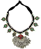 Mehrunnisa Afghani Tribal Necklace with Colored Glass For Girls/Women (JWL1737)