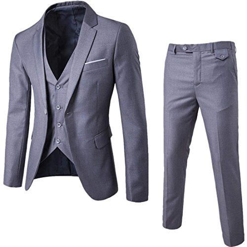 Mens 3-Piece Suit Notched Lapel One Button Slim Fit Formal Jacket Vest Pants Set,Light Grey,Large