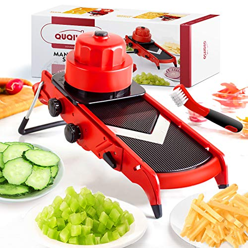 Adjustable Mandoline Slicer, Vegetable Slicer Veggie Food Slicer, V Mandolin Slicer Mandoline Cutter, Kitchen Food Processor Gadgets for Potato Onion French Fry Potato