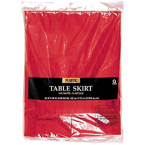 (Amscan 77025.40 Apple Red Solid Color Plastic Table Skirt, 14' x 29
