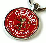 "Custom pet ID Tag dog cat pet tag Game of Thrones Red Lannister Lion SGL (Small 1"")"