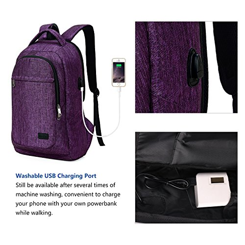 MarsBro Laptop Backpack, Anti Theft Business Water Resistant 15.6 Inch with USB Charging Port Travel College Computer Bag, Purple by MarsBro (Image #5)