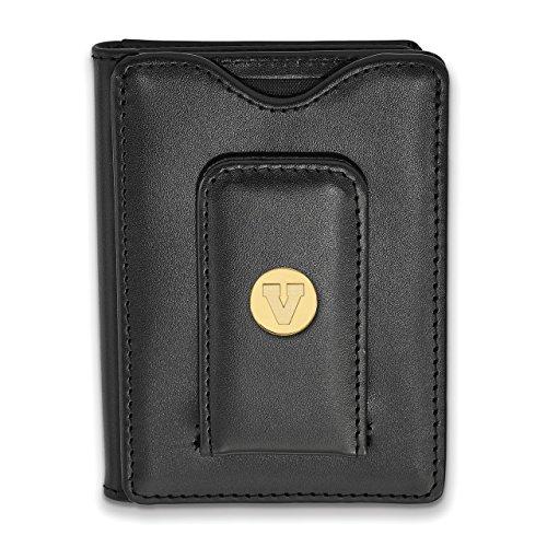(Lex & Lu LogoArt Sterling Silver w/GP University of Virginia Black Leather Wallet LAL141975)