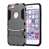 iPhone 6 Plus Case,iPhone 6s Plus case,Ebakx [Ironman Kickstand] Heavy Duty Hybrid Dual Layer Armor Defender Full Body Protective Case Cover for Apple iPhone 6s/iPhone 6 Plus case, (Silver) (Gray)