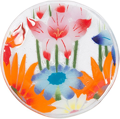 Plate Glass Fusion - Fusion Art Glass 8-Inch Round Plate with Wild Flowers Design