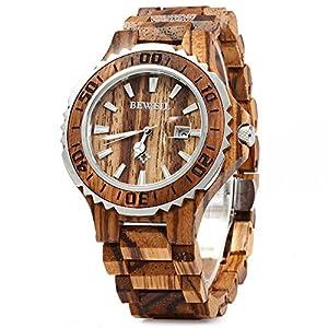 Bewell 100BG Wooden Watch Analog Quartz Light Weight Vintage Wrist Watch for Men