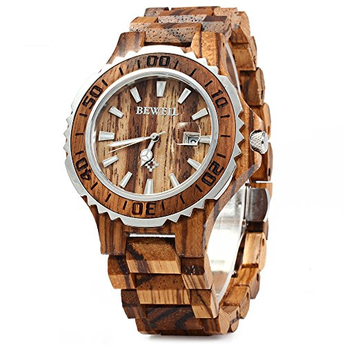 Bewell 100BG Wooden Watch Analog Quartz Light Weight Vintage Wrist Watch for Men (Zebra Wood)