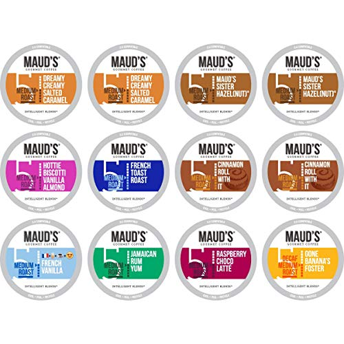 Mauds Flavored Coffee Sample Pack, 12ct. Recyclable Single Serve Arabica Coffee Pods; K-Cup Compatible Including 2.0