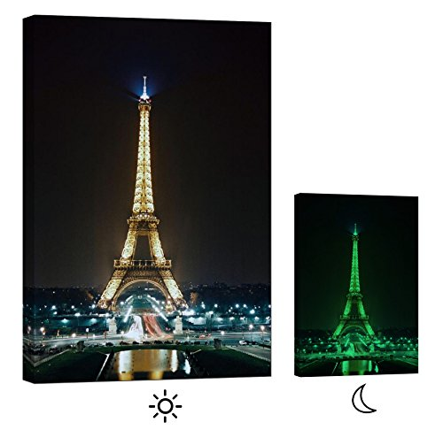 LightFairy Glow in the Dark Canvas Painting - Stretched and Framed Giclee Wall Art Print - City Urban Decor Eiffel Tower At Night - Master Bedroom Living Room Decor - 6 Hours Glow - 24 x 36 inch