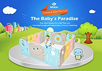 Ndotos Baby Playpen – 14 Panel Safety Play Yard – Kids Activity Center, Indoor and Outdoor Tortoise and Hare