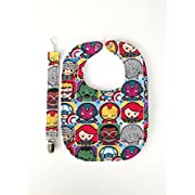 Marvel Justice League Kawaii Characters Iron man, hulk, captain america, black widow Baby Gift Set Bib with Matching Pacifier Clip