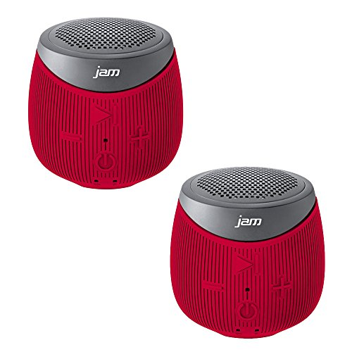 Jam Double Down Rugged Splash-Proof Bluetooth Speaker Stereo Pair of 2 Speakers in Red