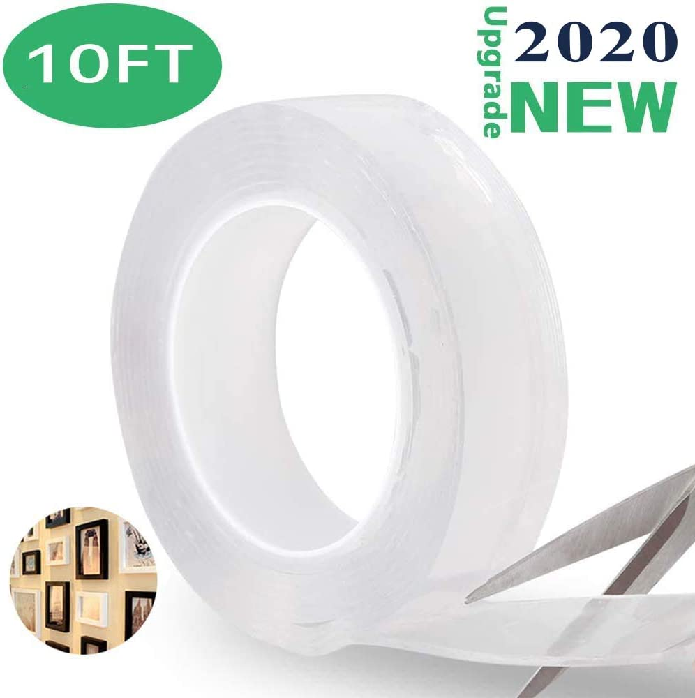Nano Adhesive Tape Batlofty Multipurpose Reusable Removable Transparent Gel Sticker Tape Double Sided Washable Seamless Traceless Tape for Home Kitchen Wall Decoration 3.3FT