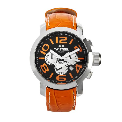 TW Steel Men's TW 52 Grandeur Orange Leather Chronograph Dial Watch
