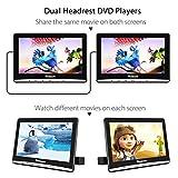 "NAVISKAUTO Upgraded 10.1"" Dual Car DVD Players with 2 Headphones Support AV Out & in Last Memory Region Free Digital Multimedia Rear-seat Entertainment System"