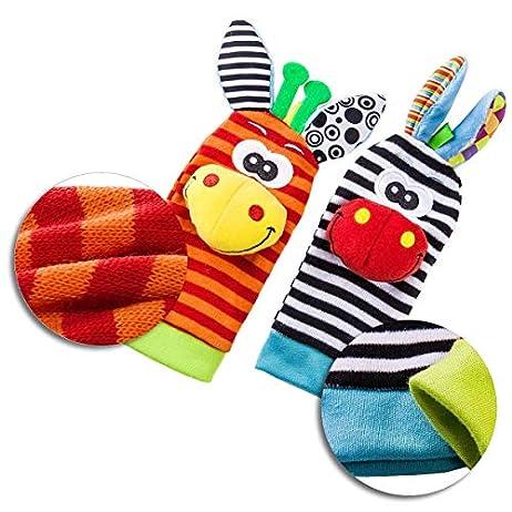 Baby Rattle Neonato Sonagli Calzini da Polso a Sonaglio per Bambini, Simpatici Animaletti Developmental Soft Toys… Abbigliamento Baby Rattle 5