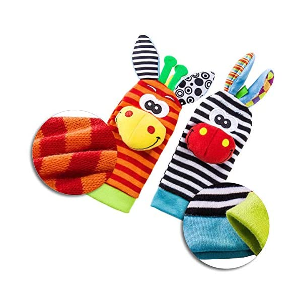 Baby Rattle Neonato Sonagli Calzini da Polso a Sonaglio per Bambini, Simpatici Animaletti Developmental Soft Toys… 4