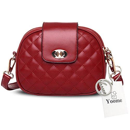 Yoome Damen Alley Style Retro Fold Tasche Kleine Taschen Für Make-up Kreis Crossbody Geldbörse Für Mädchen - Gold Rot pwGn8Ib