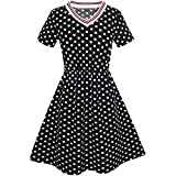 KS17 Girls Dress Black White Dot Short Sleeve Back School Dress Size 10