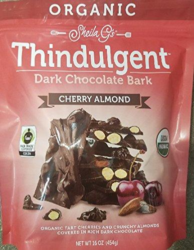 Sheila G's Organic Thindulgent Dark Chocolate Almond Bark-Cherry Almond 16 oz (And Almond Tart Cherry)