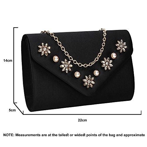 Clutch Womens Wedding Prom SWANKYSWANS Leila Satin Envelope Black Party Envelope Bag qwtxpO87x