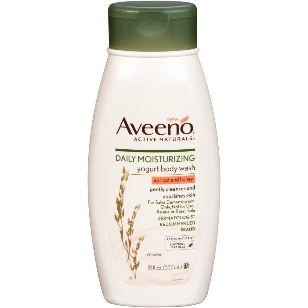 Aveeno Body Wash Yogurt Apricot & Honey 18 Ounce (532ml) (6 Pack)