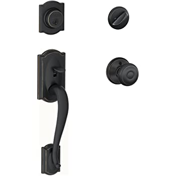 Schlage Camelot Single Cylinder Handleset And Accent Lever Aged