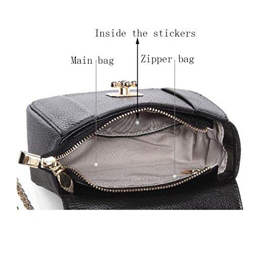 Bolso De Cadena De Señoras Carrera OL Pequeño Bolso Cuadrado De Moda De Cuero Hombro Messenger Bag Black