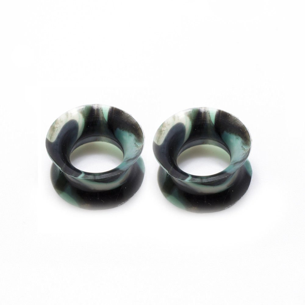 Ear gauge Silicone Double Flared Camouflage Plugs 2 Gauge to 1/2 eg